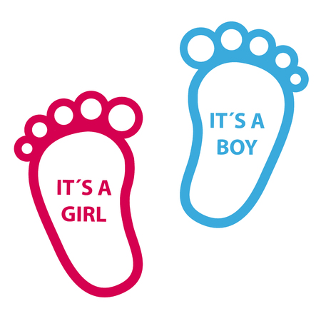 Baby Footprint Its A Girl, Its A Boy - Vector Icons
