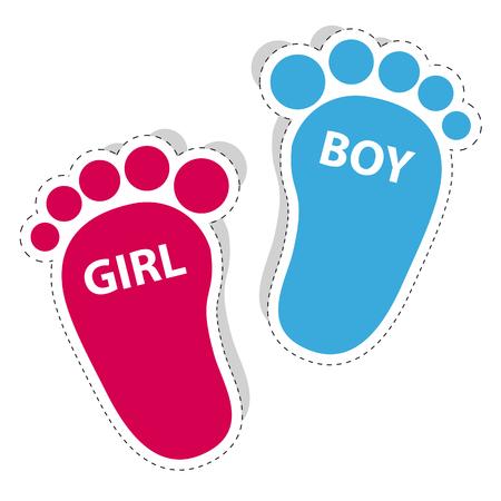 Huella de bebé niña y niño esquema iconos con sombra Ilustración de vector