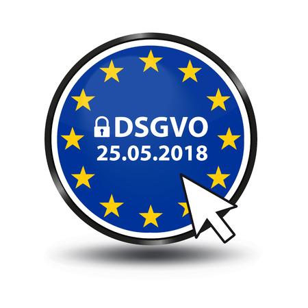 Regolamento generale sulla protezione dei dati Mutazione tedesca: Datenschutz Grundverordnung (DSGVO) - Pulsante Web con lucchetto di sicurezza e freccia del mouse Vettoriali