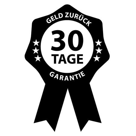 Seal Badge 30 Days Cash Back Guarantee With German Words Illustration