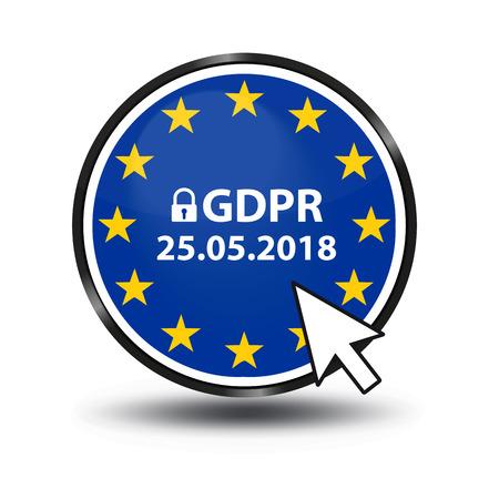 General Data Protection Regulation (GDPR)  German Mutation: Datenschutz Grundverordnung (DSGVO) - Web Button With Security Lock And Mouse Arrow