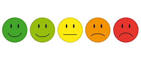 Colored faces for feedback or mood vector icons. Stock Illustratie