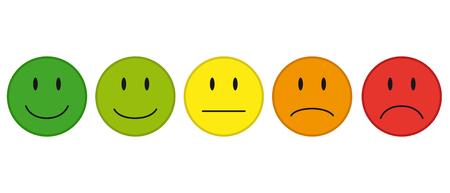 Kolorowe twarze dla ikon wektorowych informacji zwrotnej lub nastroju. Ilustracje wektorowe