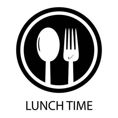 Gabel-und Löffel-Mittagspause - kreisförmiges Restaurant-Symbol Vektorgrafik