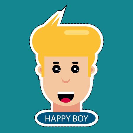 Happy Boy Face - Comic Mood Design