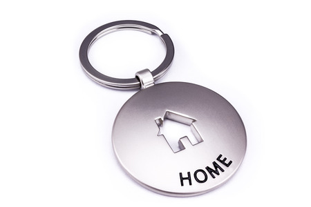 Key Ring Pendant -  Silver Home House - Isolated On White Background