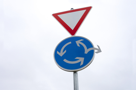 Roundabout traffic sign -   Change of direction - Alternative way out