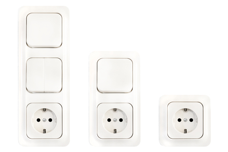 Set Of European Electric Sockets And Light Switches
