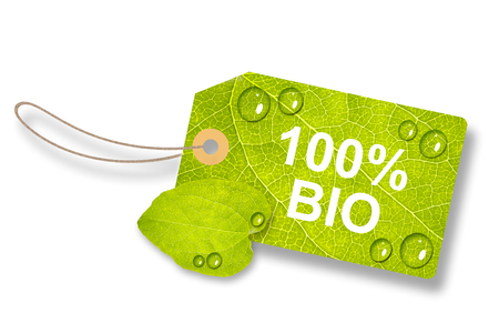 Green Leaf Tag, Label 100% Bio - Isolated On White Background Imagens