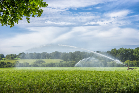 Industrial irrigation equipment system on green farm field Stock Photo