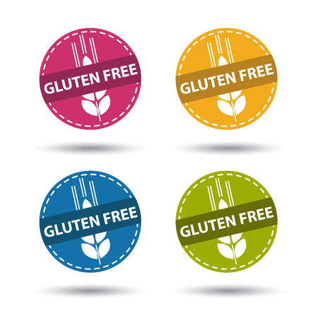 Gluten Free Buttons - Colorful Vector Illustration - Isolated On White Background Vettoriali
