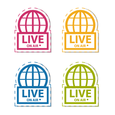 Live News On Air - Colorful Vector Sticker Icon - Isolated On White Background