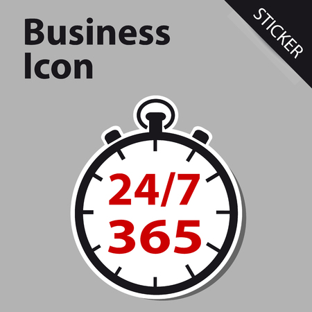 Business Clock Icon 247 365 Days - Sticker label for Customer Service, Support, Call Center... Isolated on White Background