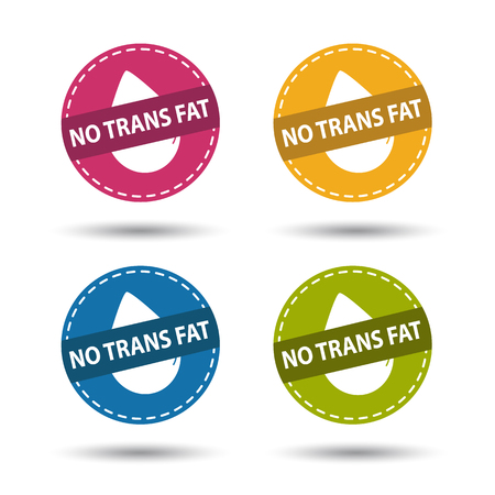 No Trans Fat - Colorful Vector Icons - Isolated On White Background