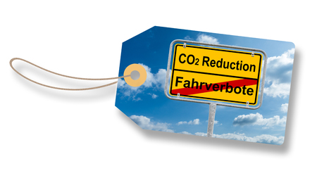 Label, Tag With German Roadsign - Translation: co2 Reduction And Driving Ban - Environmental Protection Concept