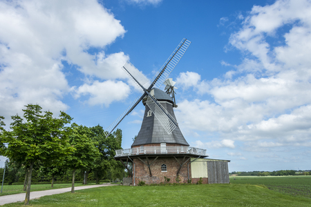Old dutch windmill at landscape with trees and blue sky in background Archivio Fotografico - 97731918