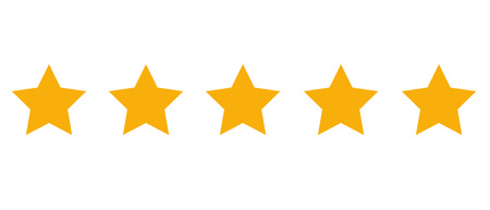 Product rating stars illustration on white background.