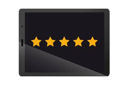 Product Rating Stars On Black Modern Tablet Device - Vector Illustration - Isolated On White Background