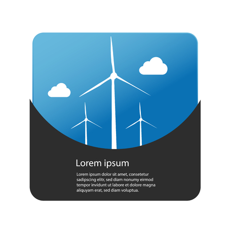 Renewable energy concept - wind turbines and clouds with background - web button. Vettoriali
