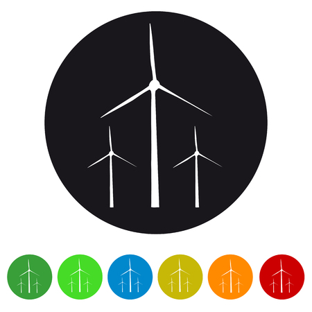 Wind Turbines - Colorful Vector Icons