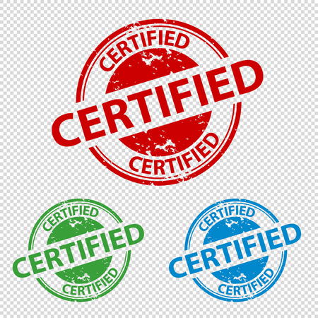 Rubber Stamp Seal Certified - Colorful Vector Illustration - Transparent Background Vectores