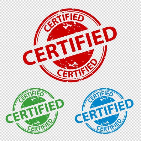Rubber Stamp Seal Certified - Colorful Vector Illustration - Transparent Background Illustration