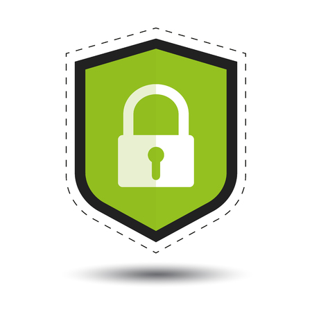 Security Shield Or Virus Shield With Padlock And Shadow - Outline Sticker Vector Icon For Apps And Websites - Isolated On White Background