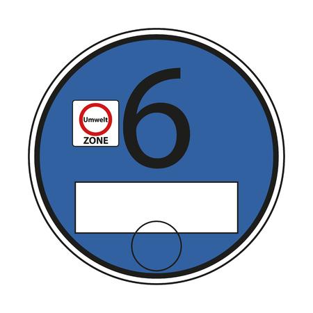 Duits milieulabel, blauw 6 - bewerkbare vectorillustratie geïsoleerd op een witte achtergrond