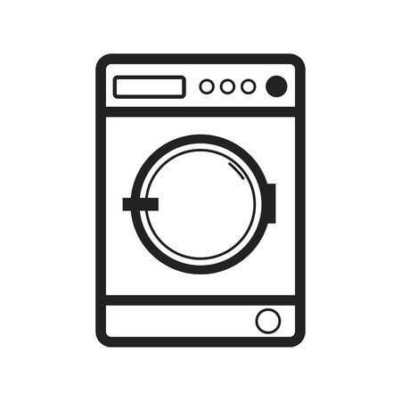 Washing Machine Isolated - Front View - Editable Vector