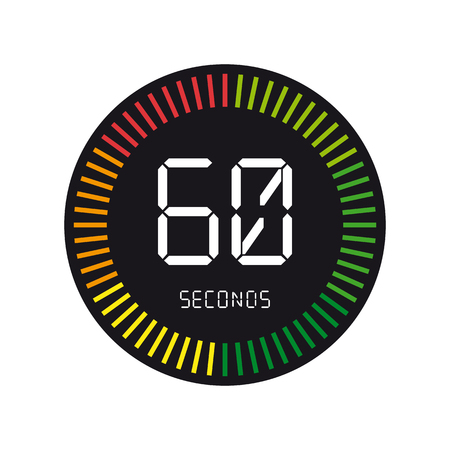 Time And Clock, 60 Seconds - Vector Illustration - Isolated On White Background Иллюстрация