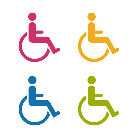 Wheelchair colorful vector icons isolated on white Background.