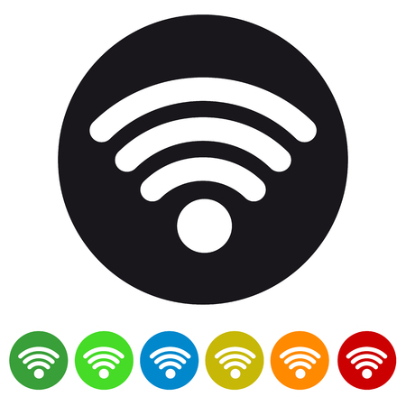 Wifi wireless wlan internet signal flat icon for apps or websites Vector illustration. Vettoriali