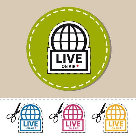 Live News On Air - Colorful Vector Sticker - Cut Out Icon With Scissor Ilustração