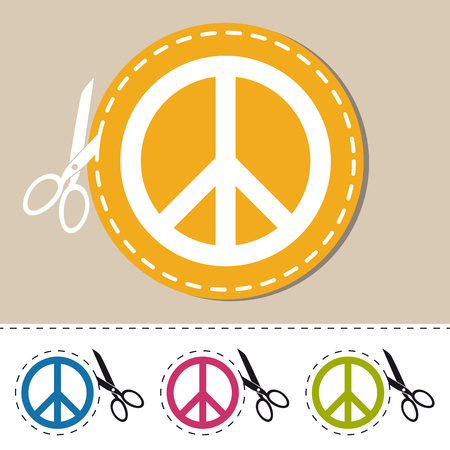 Peace Sign For Websites And Apps - Colorful Vector Set With Cut Line And Scissor - Isolated On White Background
