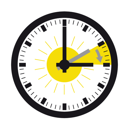 Round wall clock vector illustration isolated on white background.