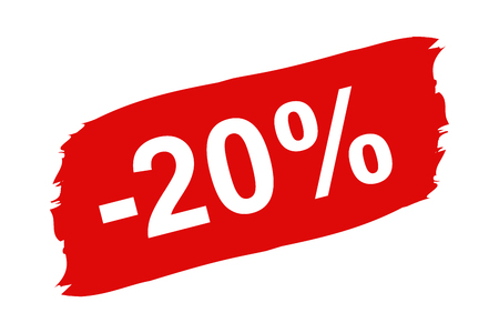 Red Discount Label 20 Percent - Brushstroke Set - Vector Illustration Isolated On White Background