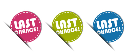 Last Chance! Web Button - Colorful Vector Illustration - Isolated On White Background Vettoriali