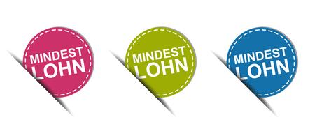 German Web Button - Translation: Minimum Wage - Colorful Vector Icons - Isolated On White Background Ilustração Vetorial