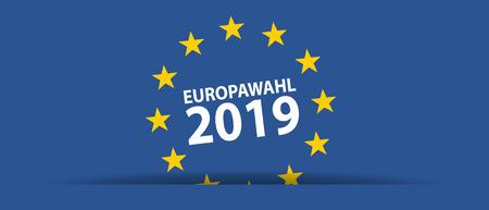 European Election 2019 - German Words - Vector Illustration