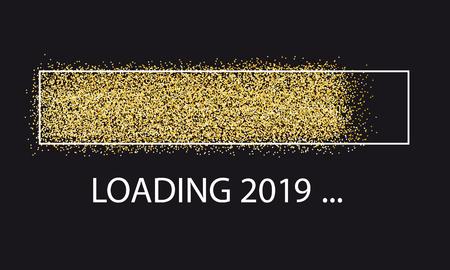Golden Glitter Loading Bar New Year 2019 Vettoriali