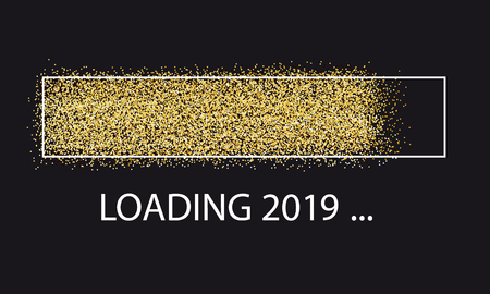 Golden Glitter Loading Bar New Year 2019 矢量图像