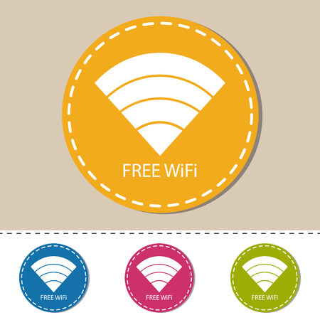 WiFi Wireless Wlan Internet Signal Flat Icon For Apps Or Websites - Colorful Vector Set