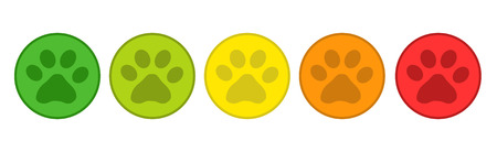 Product Rating System - 5 Animal Paw Buttons From Green To Red - Vector Illustration - Isolated On White Background