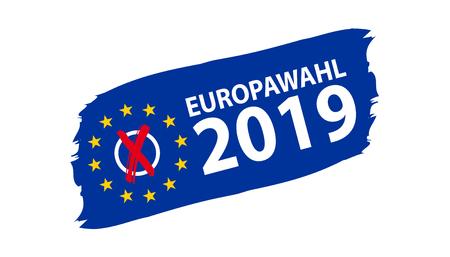 European Election 2019. German Translation: Europawahl 2019. Vector Illustration. 일러스트