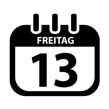 Friday 13th Calendar black Vektor Illustration. German Word Freitag isolated on White Background.