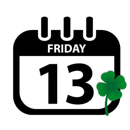 Friday 13th Calendar With Green Clover black Vektor Illustration isolated On White Background