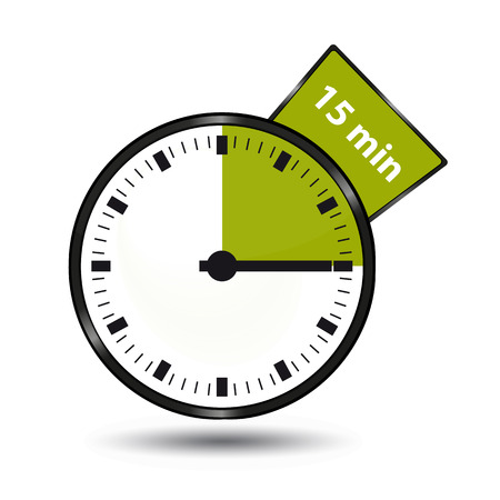 Timer 15 Minutes - Vector Illustration - Isolated On White Background