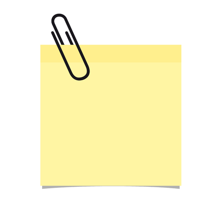 Yellow Stick Note With Paperclip On White Background - Vector Illustration Ilustração