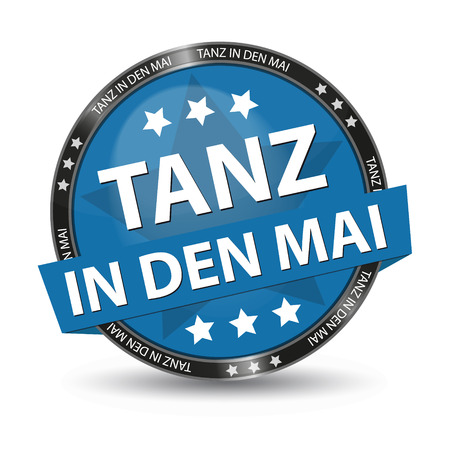 May Day - German Web Button - Translation: Dance Into May - Vector Illustration - Isolated On White Background