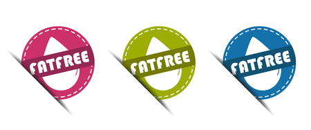 Fat Free Buttons - Vector Illustration - Isolated on White Background